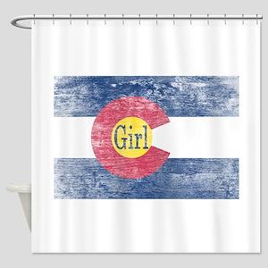 Colorado Girl Flag Aged Shower Curtain