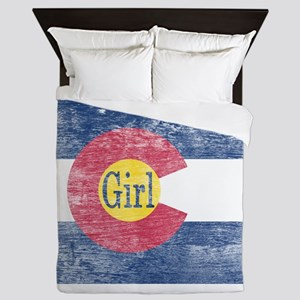Colorado Girl Flag Aged Queen Duvet