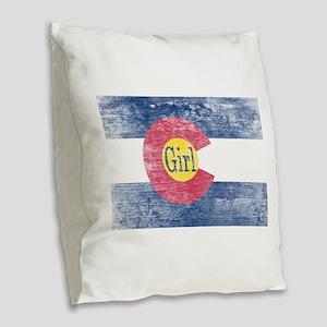 Colorado Girl Flag Aged Burlap Throw Pillow