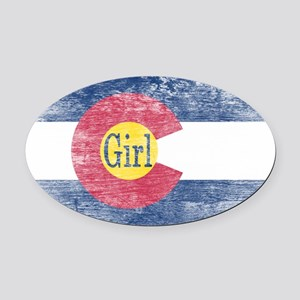 Colorado Girl Flag Aged Oval Car Magnet