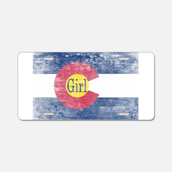 Colorado Girl Flag Aged Aluminum License Plate