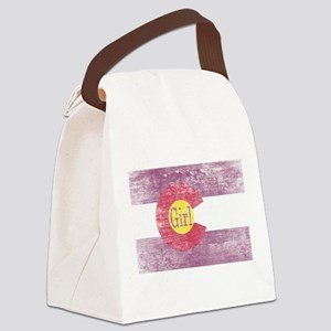 Colorado Girl Flag Pink Aged Canvas Lunch Bag