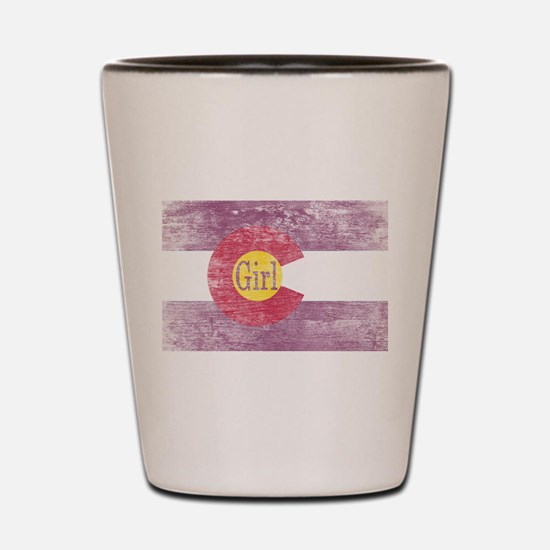 Colorado Girl Flag Pink Aged Shot Glass