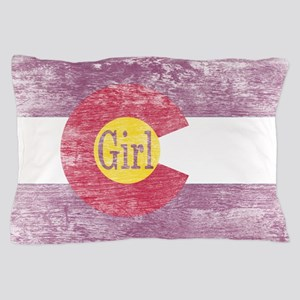 Colorado Girl Flag Pink Aged Pillow Case