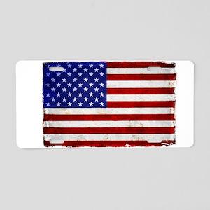 aMERICAN FLAG VINTAGE BRIGH Aluminum License Plate