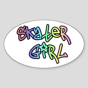 Skater Girl SK8 Oval Sticker