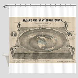 Flat Earth Map, 1893 Shower Curtain