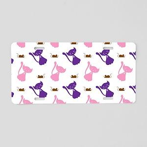 Purple & Pink Cats & Mice Aluminum License Plate