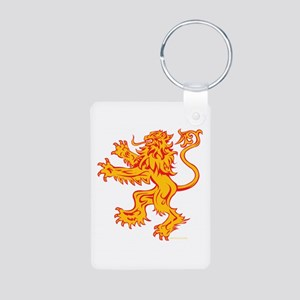 Lion Gold Red Aluminum Photo Keychain