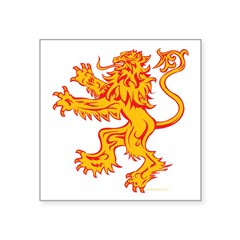 Lion Gold Red Square Sticker 3