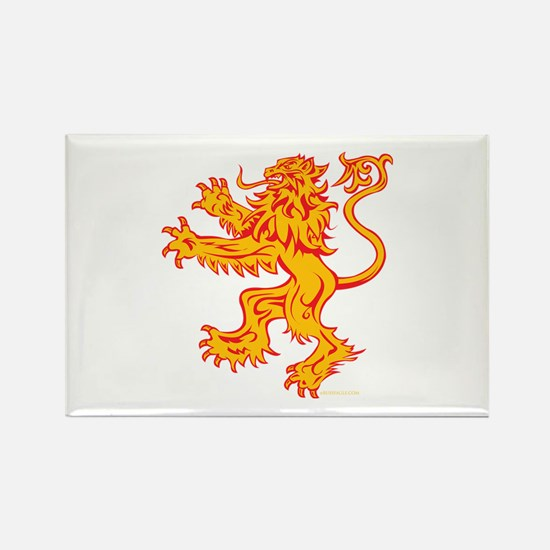 Lion Gold Red Rectangle Magnet