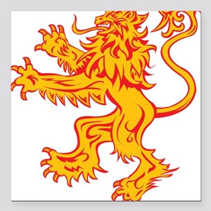 """Lion Gold Red Square Car Magnet 3"""" x 3"""""""
