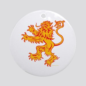 Lion Gold Red Round Ornament