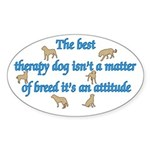 Best Therapy Dog Oval Sticker