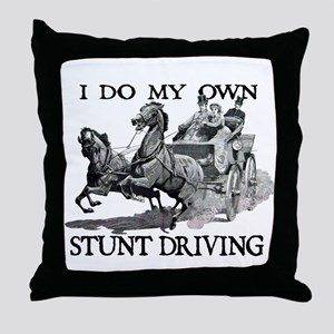 Stunt Driving - Horses Throw Pillow