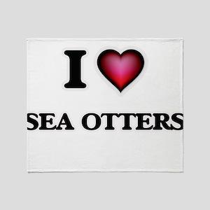 I Love Sea Otters Throw Blanket