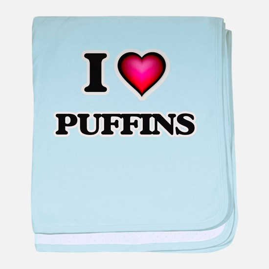 I Love Puffins baby blanket