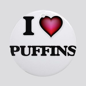 I Love Puffins Round Ornament