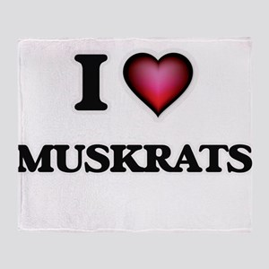 I Love Muskrats Throw Blanket