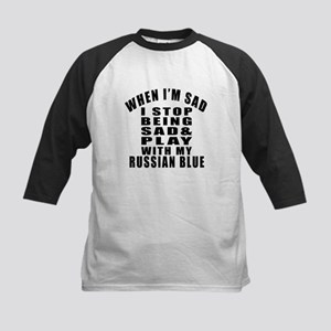 Play With Russian Blue Cat Kids Baseball Jersey