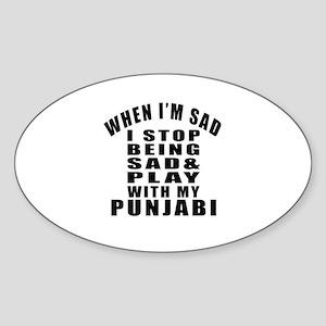 Play With Punjabi Cat Sticker (Oval)
