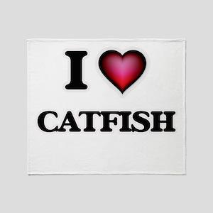 I Love Catfish Throw Blanket