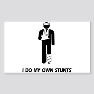 Broken Leg, Arm My Own Stunts Sticker (Rectangular