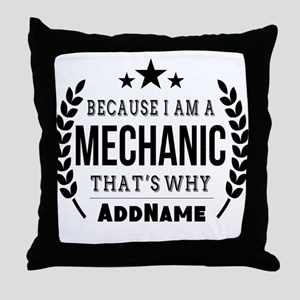 Gifts for Mechanic Personalized Throw Pillow