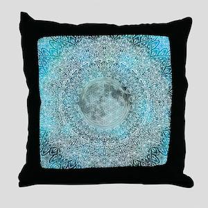 Lunar Magic Flower Of Life Blue & Whi Throw Pillow