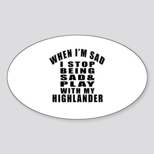 Play With Highlander Cat Sticker (Oval)