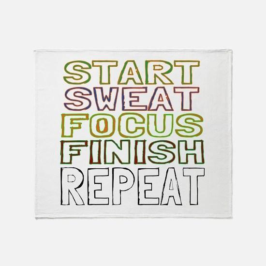 Start Sweat Focus Finish Repeat Throw Blanket