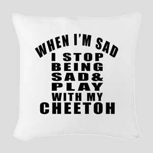 Play With Cheetoh Cat Woven Throw Pillow