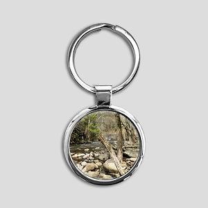 Smoky Mountains Stream Round Keychain