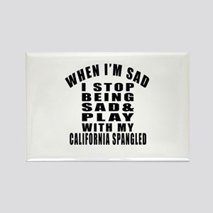 Play With California Spangled Cat Rectangle Magnet