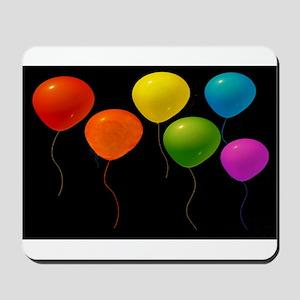 6 RAINBOW BALLOONS/BLK Mousepad