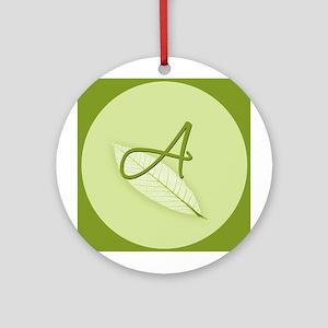 Leaves Monogram A Ornament (Round)