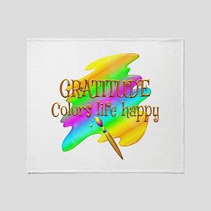 Gratitude Colors Life Happy Throw Blanket