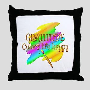 Gratitude Colors Life Happy Throw Pillow