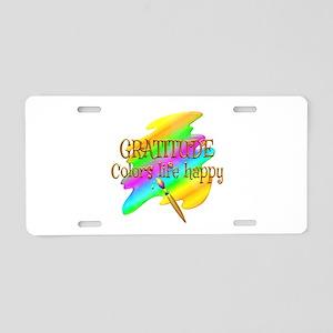 Gratitude Colors Life Happy Aluminum License Plate