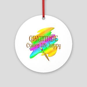 Gratitude Colors Life Happy Round Ornament