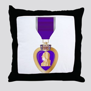 Purple Heart Medal Throw Pillow