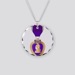 Purple Heart Medal Necklace Circle Charm