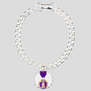 Purple Heart Medal Charm Bracelet, One Charm
