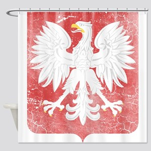 Vintage Polish Coat of Arms No Crow Shower Curtain