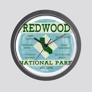 Redwood National Park Vintage Blue Wood Wall Clock