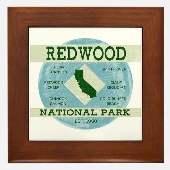 Redwood National Park Vintage Blue Woo Framed Tile
