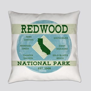 Redwood National Park Vintage Blue Everyday Pillow