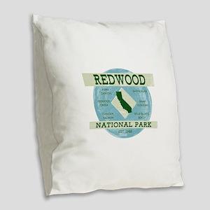 Redwood National Park Vintage Burlap Throw Pillow