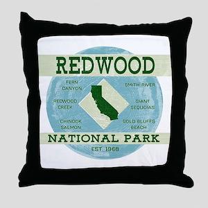 Redwood National Park Vintage Blue Wo Throw Pillow