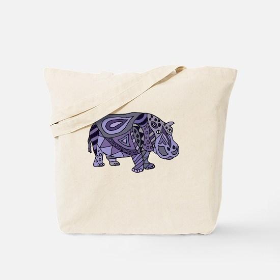 Funny Purple hippos Tote Bag